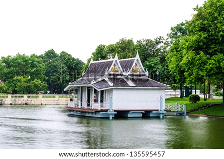 summer house at water - stock photo