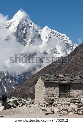 Summer house in the mountain region of the himalayas - Mt. Everest region, Nepal - stock photo