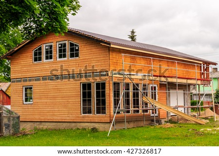 Summer house under construction - stock photo