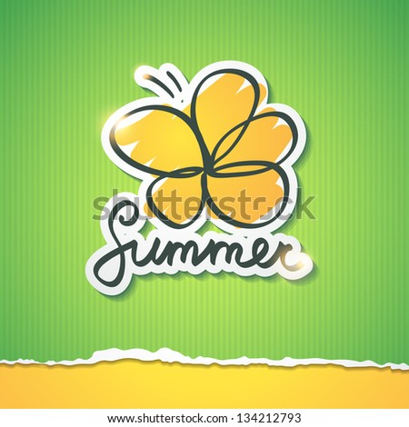 summer illustration with flower and handwriting inscription - stock photo