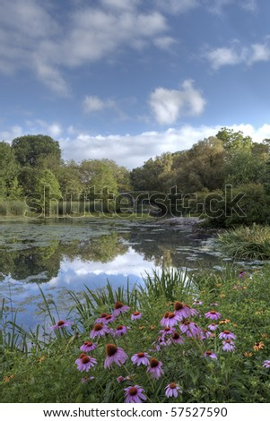 Summer in Central Park by the pond with flowers at the Gapstow bridge - stock photo