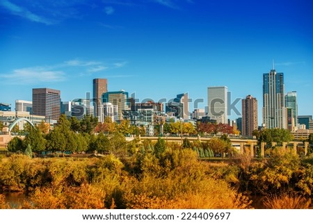 Summer in Denver Colorado. Denver Summer Skyline Panorama. United States. - stock photo