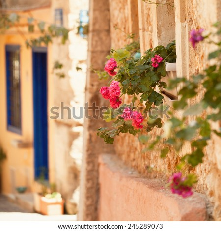 Summer in Greece Crete, Chania old town abstract background - stock photo