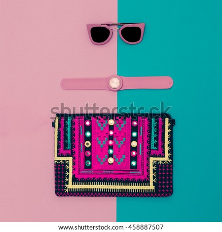 Summer in Pink. Fashionable Lady Accessories. Handbags, Watches, Sunglasses. Glamour style. - stock photo