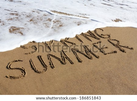 Summer is coming concept - inscription Spring and Summer written on a sandy beach, the wave is starting to cover the word Spring.  - stock photo