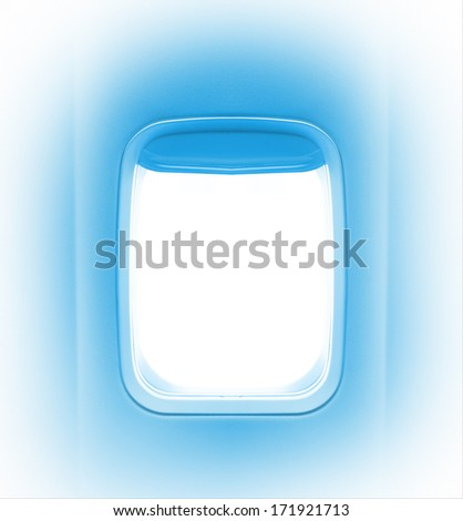 Summer journey and adventure concept. Day light in the aircraft's porthole.  Background of business voyage or trip. Colored in blue tones. - stock photo