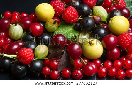 summer juicy fruits and berries - stock photo