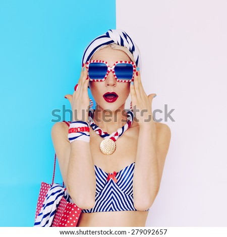 Summer Lady. Glamorous vintage style. Marine Fashion - stock photo