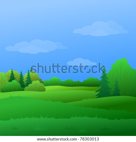 summer landscape: forest with green trees and the blue sky with white clouds - stock photo