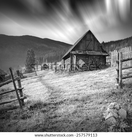 Summer landscape. Mountain village in the Ukrainian Carpathians. Monochrome colors - stock photo