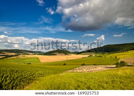 summer landscape near Jena with clouded blue sky - stock photo
