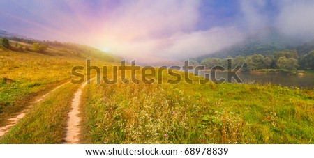 Summer landscape near the river. Sunrise - stock photo