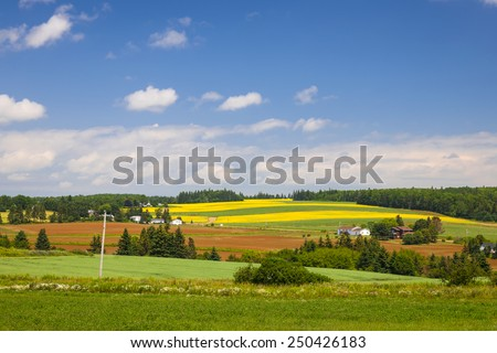 Summer landscape of farms and fields with red soil, Prince Edward Island, Canada. - stock photo