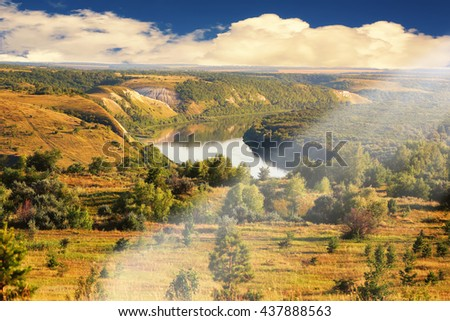summer landscape river Don in the forest steppe zone Russia Rostov region - stock photo