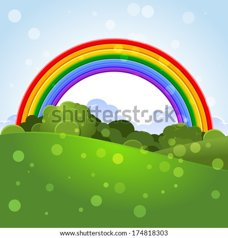 Summer landscape with a rainbow - stock photo