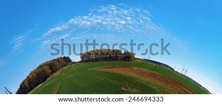 Summer landscape with blue sky, green field and forest on the horizon. Fish-eye effect. - stock photo