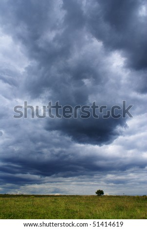 Summer landscape with dark cloudy sky, grass and trees - stock photo