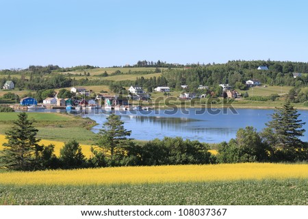 Summer landscape with rapeseed fields and fishing pier with boats  in central Prince Edward Island, Canada - stock photo