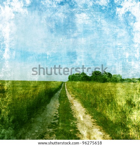 Summer landscape with road in grunge and retro style. - stock photo