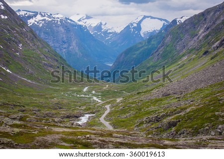 Summer landscape with the national tourist road, Norway. - stock photo