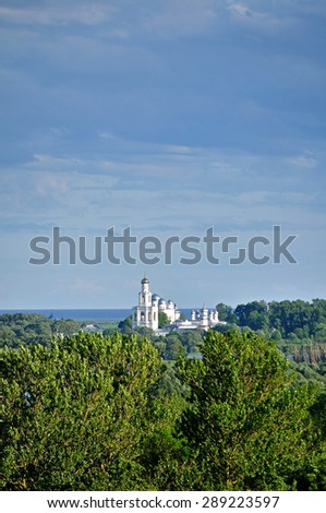 Summer landscape with Yuriev Monastery from bird's eye view in Veliky Novgorod, Russia  - stock photo