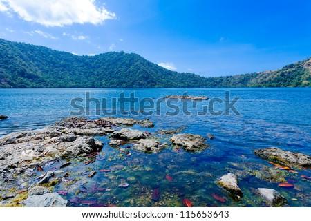 Summer Lanscape of Lake in Komodo Island, Indonesia - stock photo