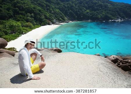 Summer man vacation. Tropical beach, Similan Islands, Andaman Sea, Thailand. Human. Exotic travel.  - stock photo