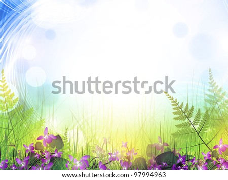 summer meadow with viola flowers over bright background - stock photo