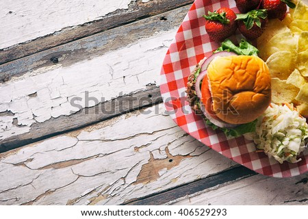 Summer: Memorial Day Cookout Food With Copyspace - stock photo