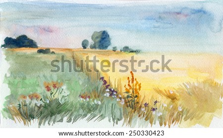 Summer morning field. Watercolor landscape - stock photo