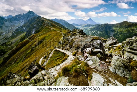 Summer mountain landscape in the Polish Tatry - stock photo