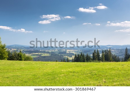 Summer mountains green grass and blue sky landscape - stock photo