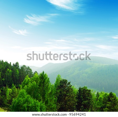 Summer mountains landscape with trees. - stock photo