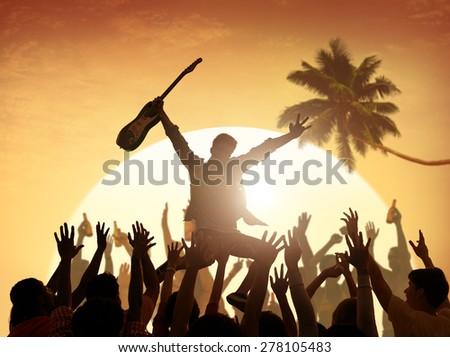 Summer Music Festival Enjoyment Fun Vacation Teenager Concept - stock photo