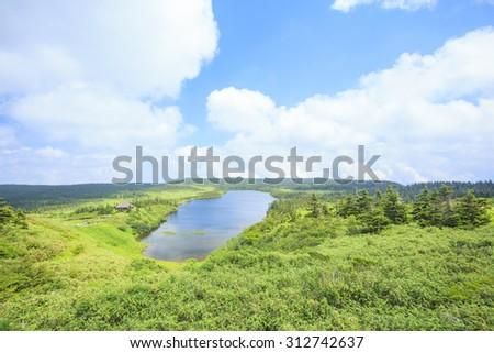 Summer of Mt. Hachimantai, Hachiman pond, Iwate prefecture, Japan - stock photo