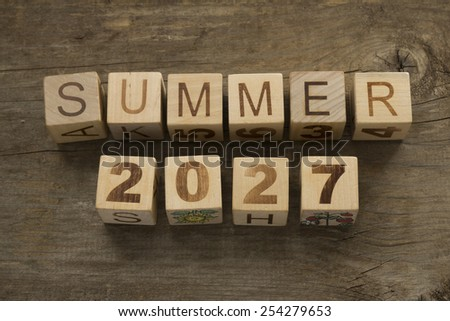 Summer 2027 on wooden blocks on a wooden background - stock photo