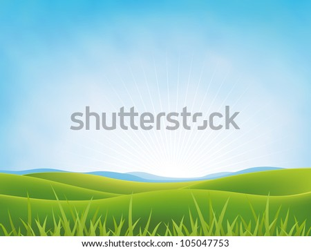 Summer Or Spring Meadows Background/ Illustration of a spring or summer landscape in a bright cloudy sky with green fields  and meadows and grass in the foreground - stock photo