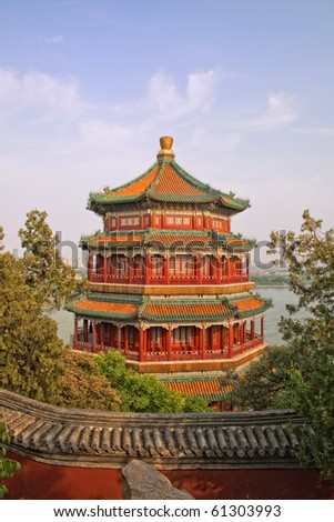 summer palace tower pagoda's, as viewed in the sunset - stock photo