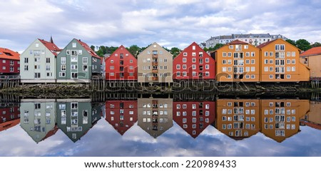 Summer panorama landscape of Trondheim city architecture - stock photo