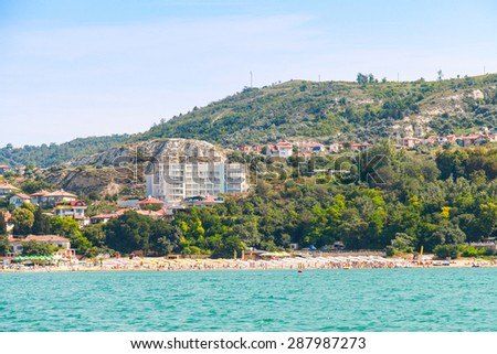 Summer panoramic landscape of Balchik resort town, coast of the Black Sea, Varna region, Bulgaria - stock photo