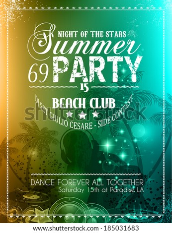 Summer Party Flyer for Music Club events for latin dance. - stock photo