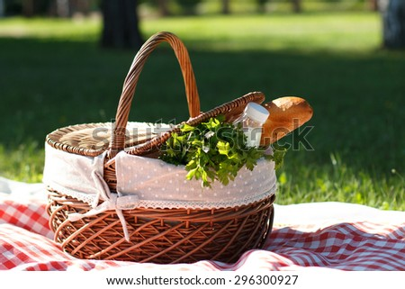 Summer picnic with a basket of food in the park - stock photo