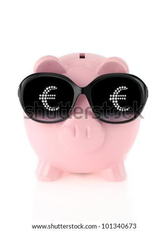 Summer piggy bank - stock photo