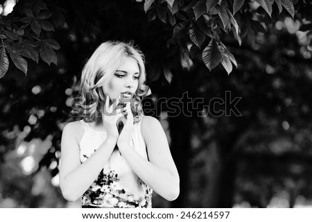 summer portrait of a pretty teen girl - stock photo