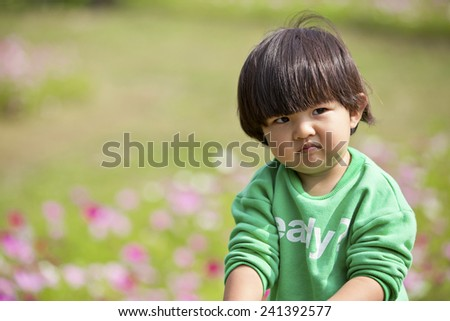 Summer portrait of happy cute child - stock photo