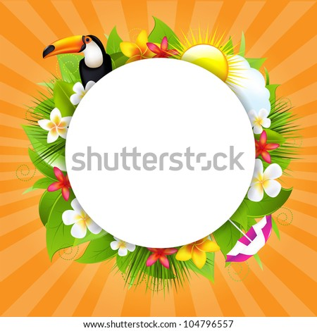 Summer Poster With Sun And Cloud - stock photo