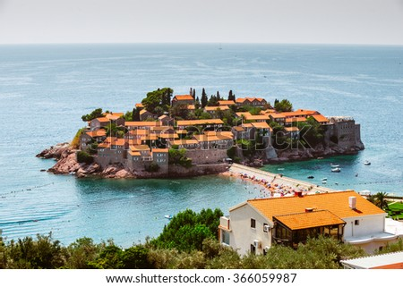 Summer resort landscape, Island of Saint Stephen, Budva, Adriatic sea, Montenegro - stock photo