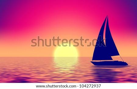 Summer retro illustration boat silhouette in sea and sun - stock photo