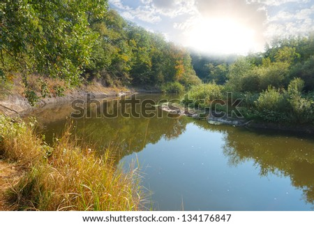 summer river at the early morning - stock photo