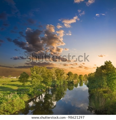summer river at the evening - stock photo